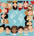 cartoon people group community world frame vector image