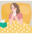 girl woman get flu sneeze bed rest cough spreading vector image