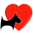 icon with dog and heart vector image