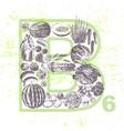ink hand drawn fruits and veggies vitamin b6 vector image