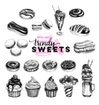Trendy sweets set in sketch vector image