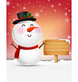 Snowman cartoon smile and blank wooden sign eps10 vector image