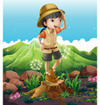 A girl standing above the stump across the vector image vector image