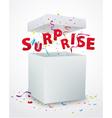 Surprise message box with confetti vector image