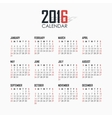Calendar for 2016 on white background vector image