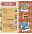 Bolivia infographics statistical data sights vector image