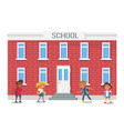 boys and girls with backpacks standing near school vector image