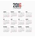 Calendar for 2016 on white background vector image