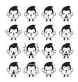 Monkey Emoticons set Monochrome vector image