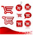 Red Shopping Cart Design Kit vector image