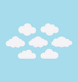 set of white clouds on the light blue sky vector image