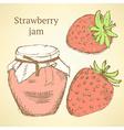 Sketch strawberries and jar in vintage style vector image