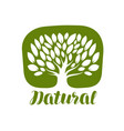 tree with leaves label or logo natural organic vector image