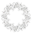 Circle silver floral frame in doodle style vector image