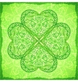 Light green ornate four-leaf clover background vector image vector image