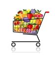 Fruits in shopping cart for your design vector image