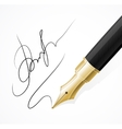 Close up of a fountain pens and signature vector image