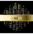 I love you words black gold background vector image