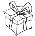 simple black and white gift box vector image
