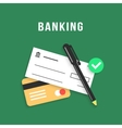 banking with charge card and bank check vector image