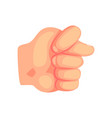 hand showing a fig gesture cartoon vector image