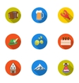 Oktoberfest set icons in flat style Big vector image