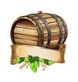 wooden beer barrel still life vector image