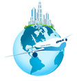 Icon Earth with Business City and Airbus vector image vector image