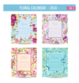 Floral Calendar - 2016 - September - December vector image vector image