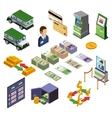 Banking Isometric Icons Set vector image