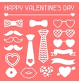 Happy valentines day icons set Hipster objects vector image