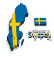 kingdom of sweden 3d flag and map vector image