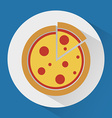 Pizza on the plate colorful icon vector image