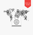 Shopping bag over world map with pointers vector image