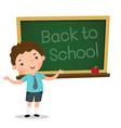 Smart boy presenting in front of blackboard vector image