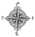 wind rose in mandala style nautical compass icon vector image