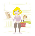 woman shopping in a supermarket vector image