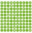 100 animals icons hexagon green vector image