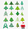 Collection of Christmas trees Santa Claus vector image