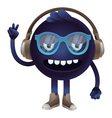funny monster with headphones and glasses vector image