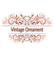 vintage floral calligraphic ornament vector image