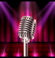 The musical show microphone on the red scene vector image