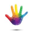 rainbow triangle hand print vector image