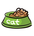 Bowl dry food for cats with caption vector image