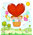 children in a balloon vector image