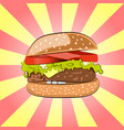 hamburger or burger with salad cheese beef meat vector image