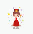 queen fantastic character with crown and scepter vector image
