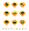 Real estate icons on yellow rhombic buttons vector image