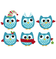 Cute winter owl collection isolated on white vector image
