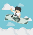 Businessman sitting on the flying dollar magic vector image
